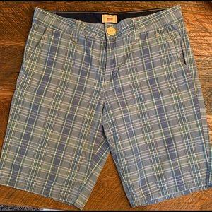 LEVI'S Tab Twills Blue Plaid Shorts Sz 12